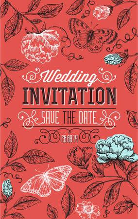 Vintage floral wedding invitation. Vector illustration.