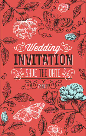 Vintage floral wedding invitation. Vector illustration. 스톡 콘텐츠 - 95667080