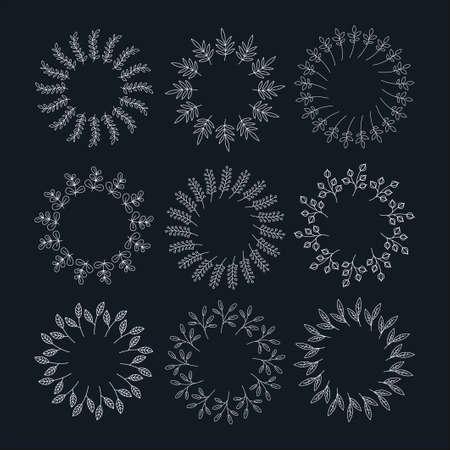 Round linear graphic floral frame set. Vector illustration. Illustration