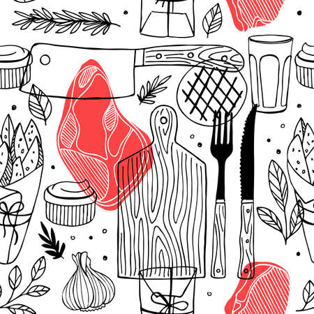 Seamless meat pattern. Meat restaurant pattern. Vector illustration.