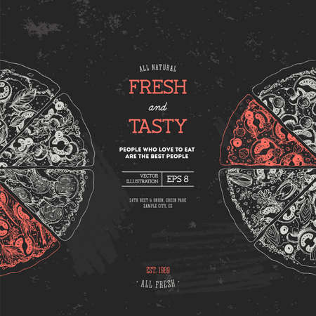 Pizza design template design. Vector illustration. Çizim