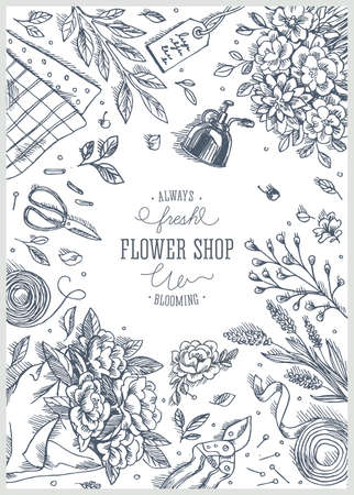 Flower shop. Linear graphic. Top view vintage illustration Ilustração