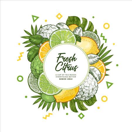 Fresh citrus design template. Engraved style illustration. Organic fruits packaging design. Vector illustration Illustration