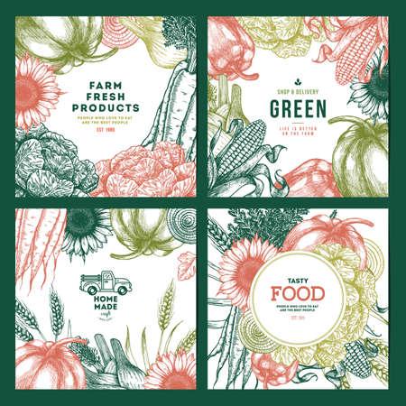 Food fresh design templates set