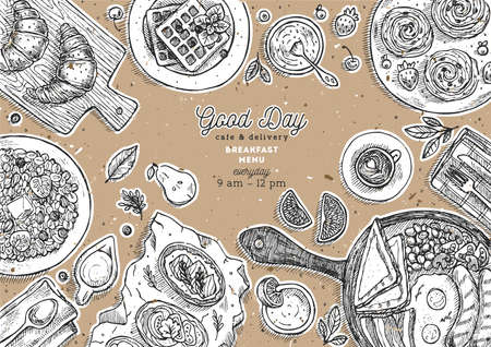 Breakfast cardboard background. Various food background. Engraved style illustration. Hero image. Vector illustration
