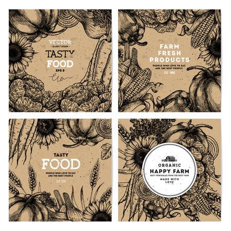Engraved style vegetables banner collection. Organic vegetables sketch illustration. Vector illustration