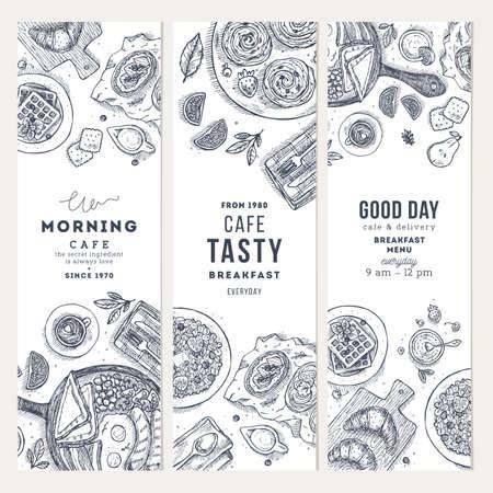 Desayuno vertical banner colección. Varios antecedentes de alimentos, ilustración de estilo grabado. Ilustración vectorial