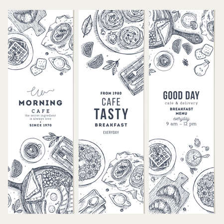 Breakfast vertical banner collection. Various food background, Engraved style illustration. Vector illustration Vectores