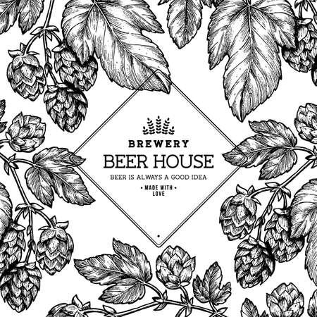 Beer hop frame . Engraved style illustration. Vintage beer design template. Vector illustration. Standard-Bild - 96072910