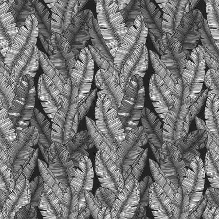 Banana leaf seamless pattern. Monochromatic minimalist exotic background. Vector illustration