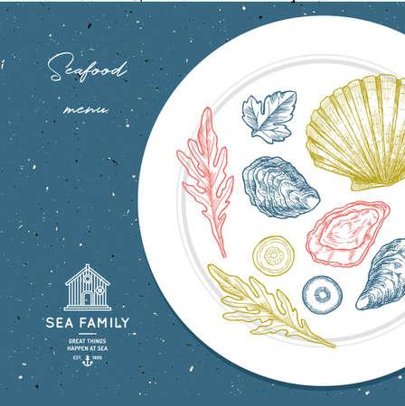 シーフードプレートイラスト。海のレストランのデザインテンプレート。ベクトル図