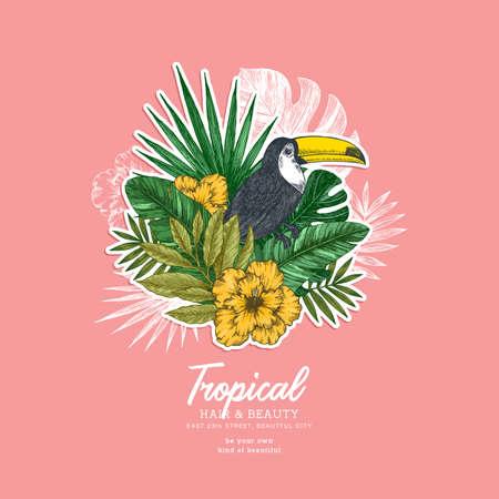 Summer floral retro design template. Bird vintage composition. Vector illustration