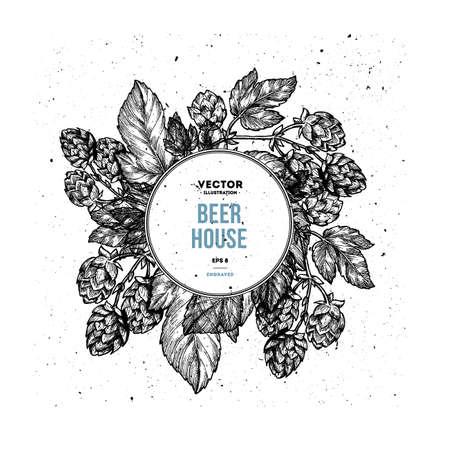 Beer hop floral composition vector illustration