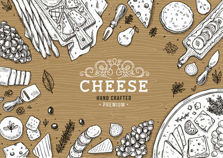 Cheese collection top view illustration