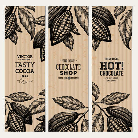 Cocoa bean tree banner collection. Design templates. Engraved style illustration. Chocolate cocoa beans. Vector illustration Illustration