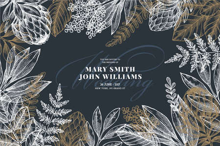 Floral wedding invitation  Vintage flower greeting card. Vector illustration