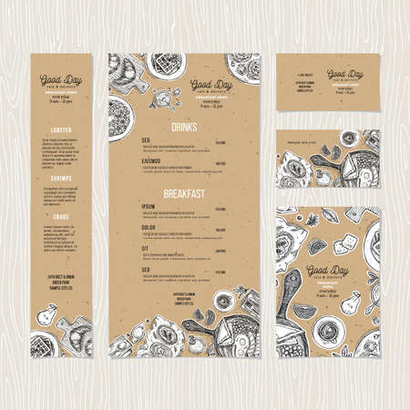 Cafe breakfast menu cardboard template. Cafe identity. Vector illustration