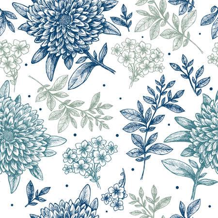 Floral seamless pattern. Linear sketchy style flower background. Vintage fabric design. Vector illustration Stock Illustratie