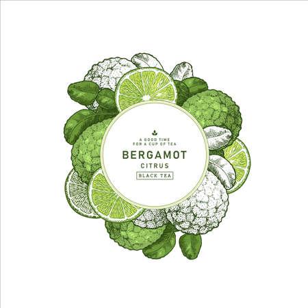 Bergamota fresca redonda plantilla de diseño. Ilustración de estilo grabado. Marco de lima kaffir. Ilustración vectorial Foto de archivo - 96216711
