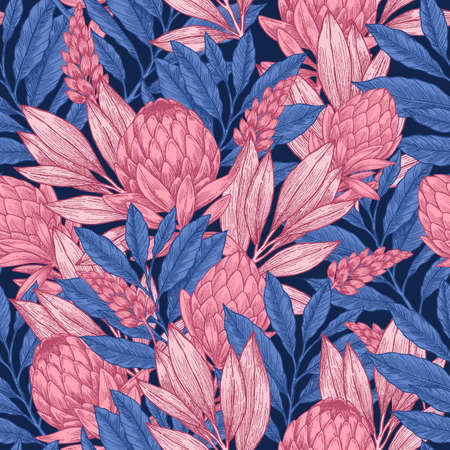 Dark protea seamless pattern. Linear sketchy style flower elements. Vintage fabric design. Vector illustration Çizim
