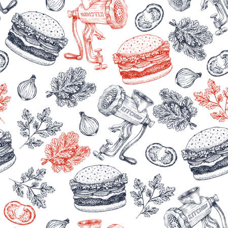 Burger seamless pattern. Meatgrinder, salad, burger, tomato, onion. Fast food background. Vector illustration