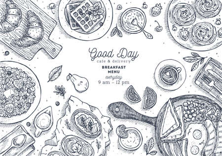 Breakfast top view illustration. Various food background. Engraved style illustration. Hero image. Vector illustration Illustration