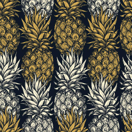 Pineapple seamless pattern. Gold exotic fabric. Vector illustration