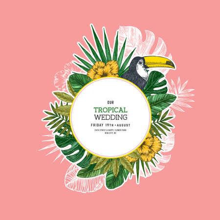 Summer retro wedding invitation. Bird vintage design template. Vector illustration