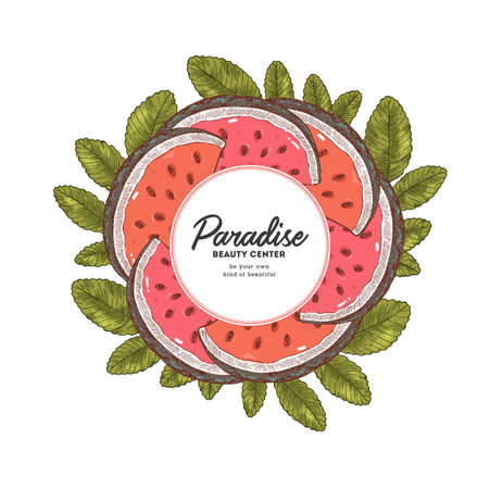 Vintage watermelon slices round design template. Vector illustration  イラスト・ベクター素材