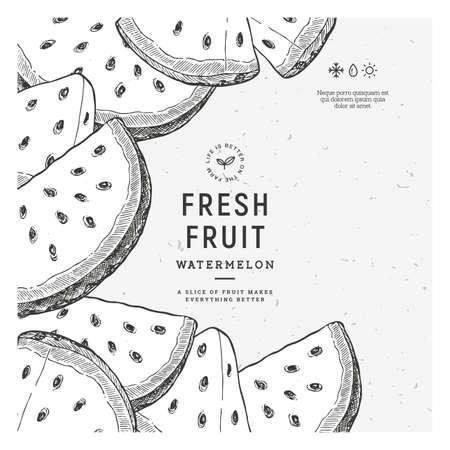Vintage watermelon slices design template. Vector illustration.