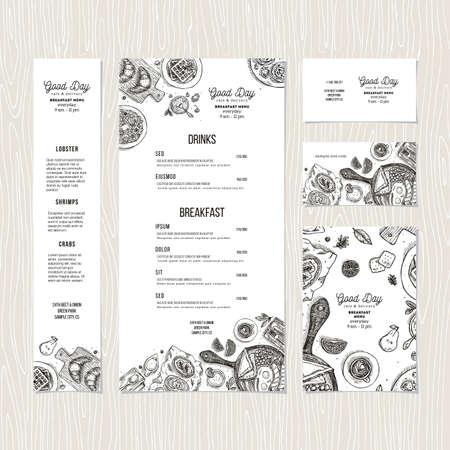 Cafe breakfast menu template. Cafe identity. Vector illustration