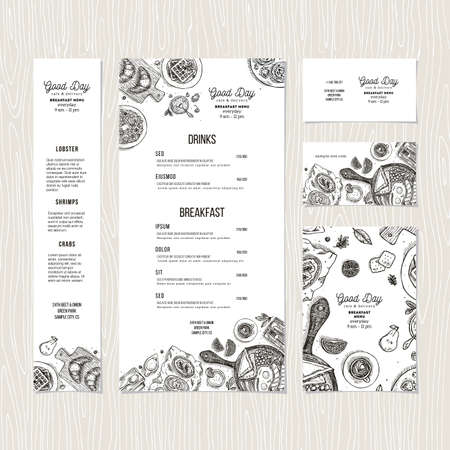 Cafe breakfast menu template. Cafe identity. Vector illustration