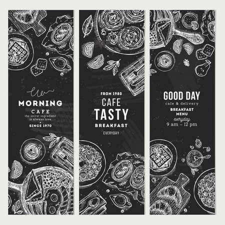 Breakfast chalkboard vertical banner collection. Various food background. Engraved style illustration. Vector illustration