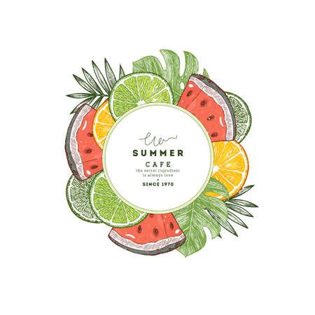 新鮮な夏のフルーツラウンド組成物。フルーツデザインテンプレート。ベクトル図  イラスト・ベクター素材