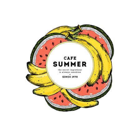 夏のフルーツラウンド組成物。バナナとスイカのイラスト。ベクトルのイラスト