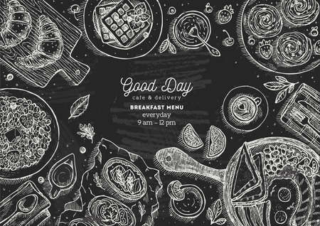 Breakfast menu poster design illustration