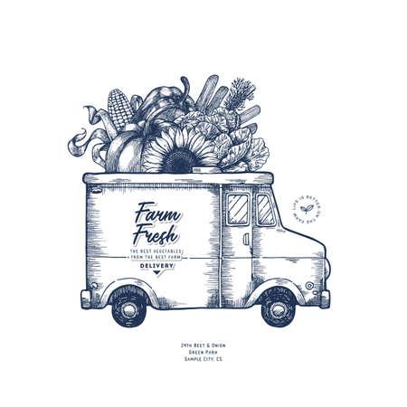 Modèle de conception de livraison frais de ferme. Camion de cuisine classique avec des légumes biologiques. Illustration vectorielle
