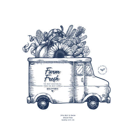 Farm fresh delivery design template. Classic food truck with organic vegetables. Vector illustration Vectores
