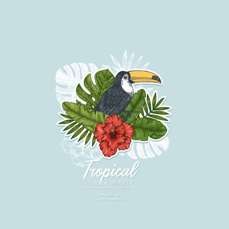 Summer floral retro design template. Toucan vintage composition. Vector illustration.