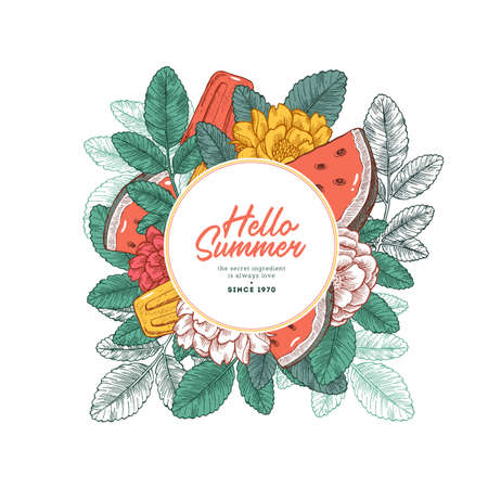 Fresh watermelon, ice cream and floral design template. Vector illustration.