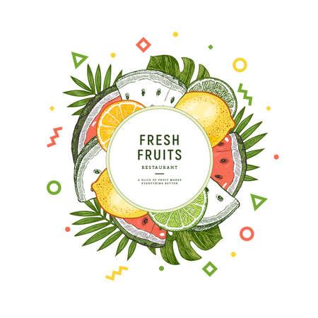 新鮮なフルーツデザインラウンドテンプレート。レモン、スイカ、オレンジ、モンステラリーフ ベクターイラスト