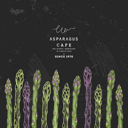 Asparagus organic market design template. Organic vegetables. Vector illustration