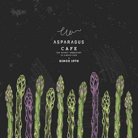 Asparagus organic market design template. Organic vegetables. Vector illustration