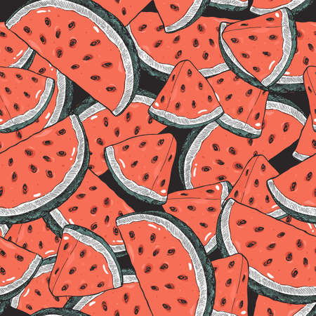 Watermelon slices seamless pattern. Watermelon background. Vector illustration