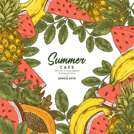 Fresh fruit frame design template.