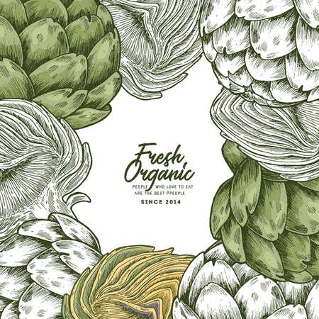 Vintage artichoke shop design template. Organic vegetables. Vector illustration Illustration