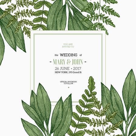 Wild leaves design template. Vintage floral background. Vector illustration