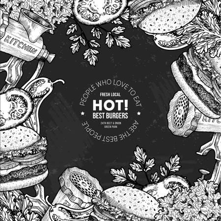 Fast food chalkboard design template. Linear graphic. Snack collection. Junk food. Engraved illustration. Vector illustration