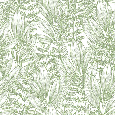 Wild flowers seamless pattern vector illustration Illustration