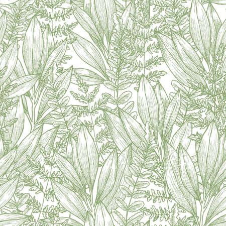 Wild flowers seamless pattern vector illustration Vettoriali